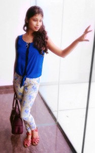 knotted top and printed pants