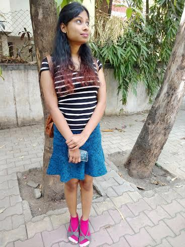school girl skirt with striped tee