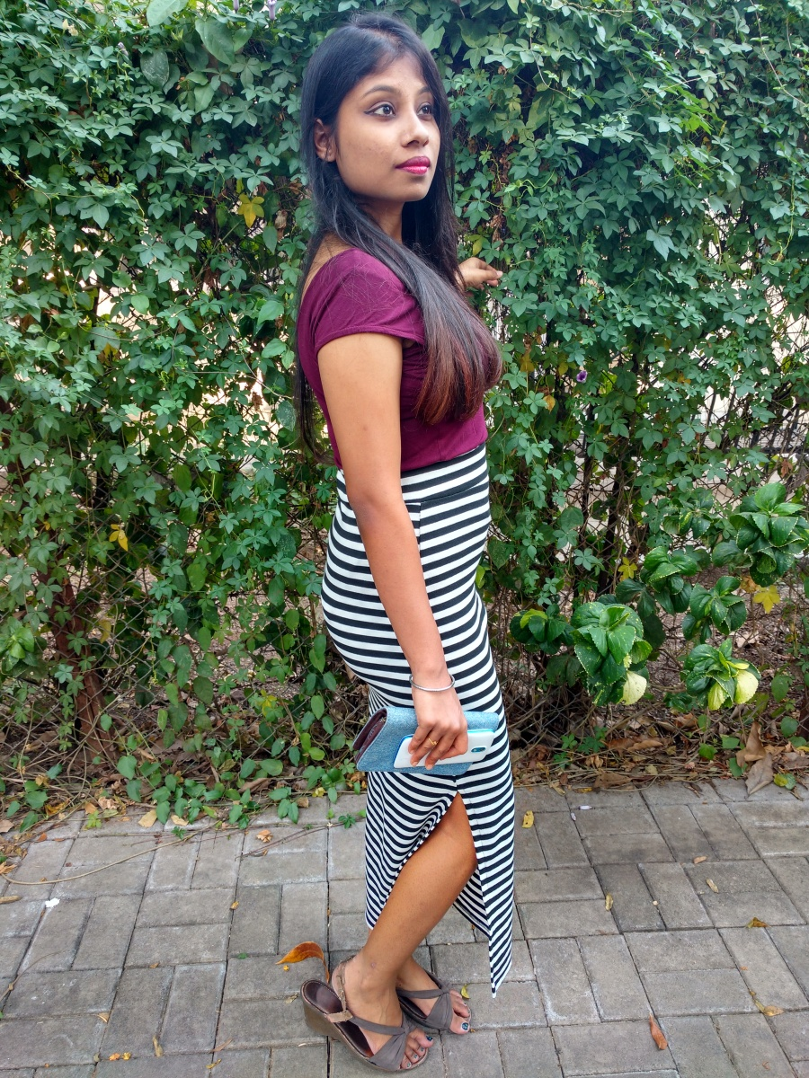 Slit Skirt in Zebra stripes with burgundy top - Dainty Street