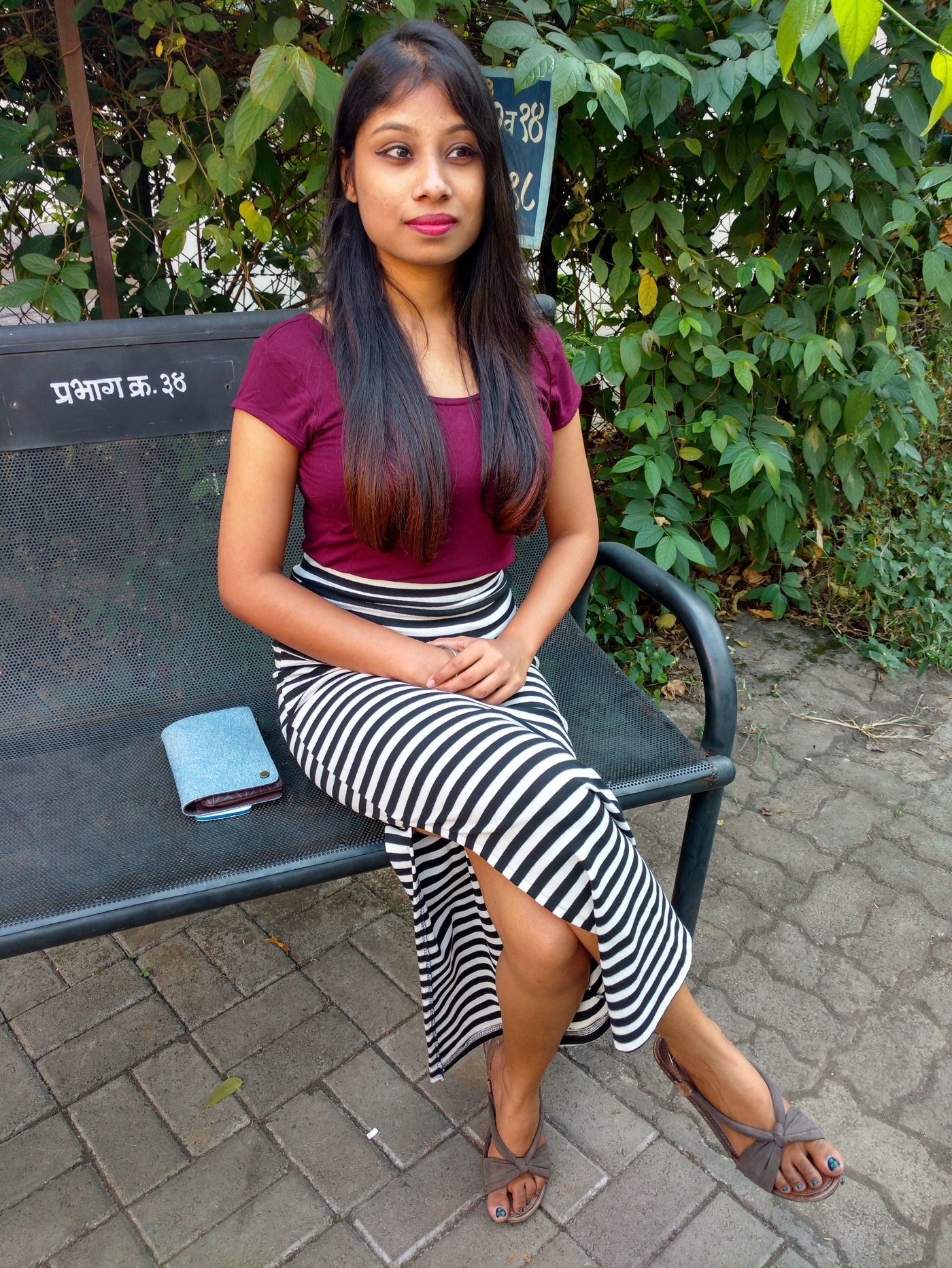 Slit Skirts in Zebra stripes with burgundy top
