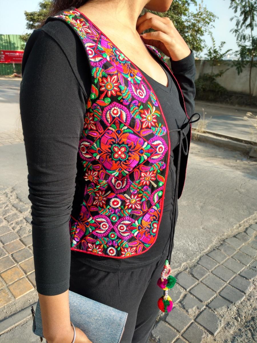 Gujrati - Rajasthani glassworked colourful jacket