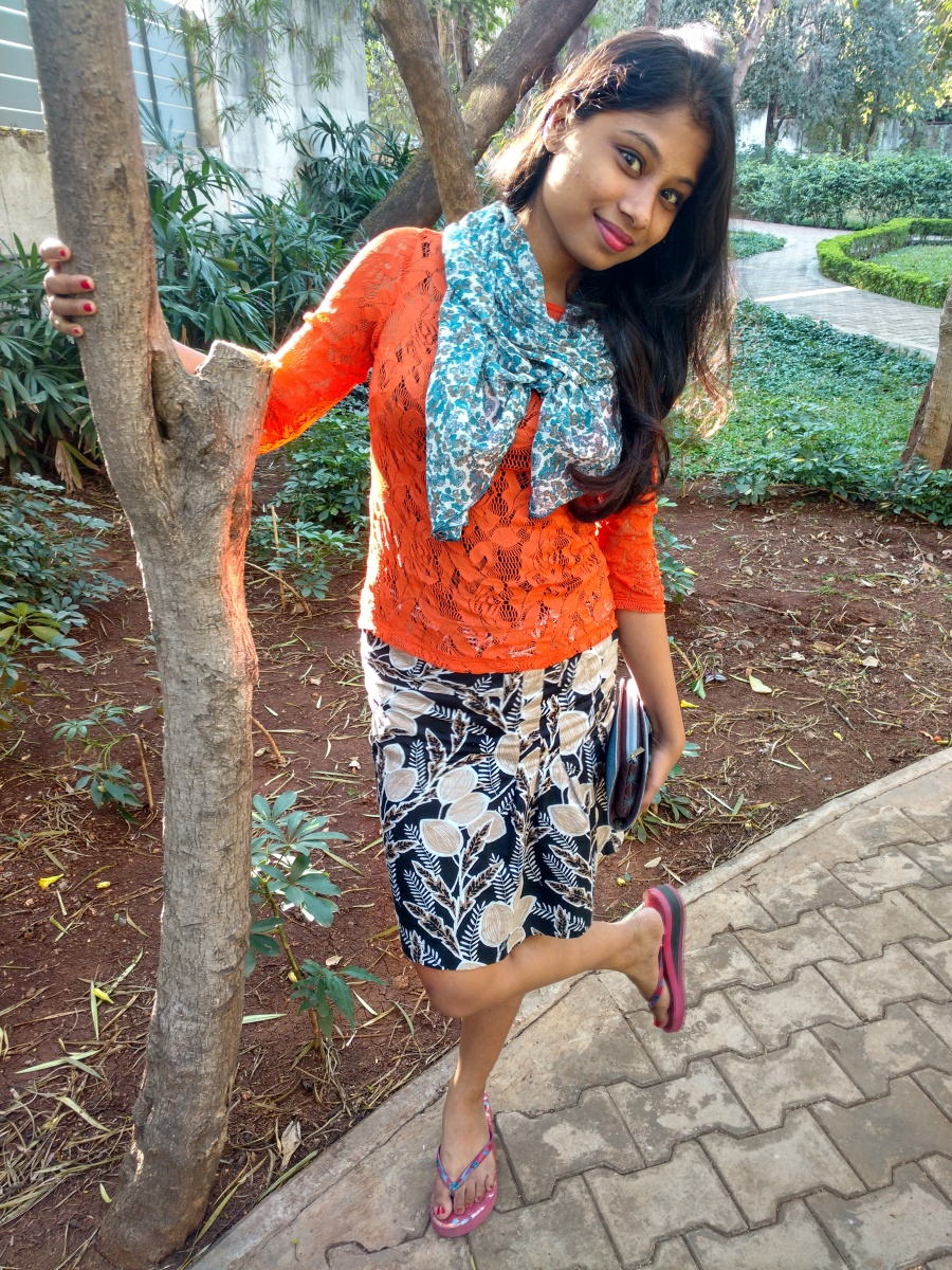 Lacey top with printed skirt
